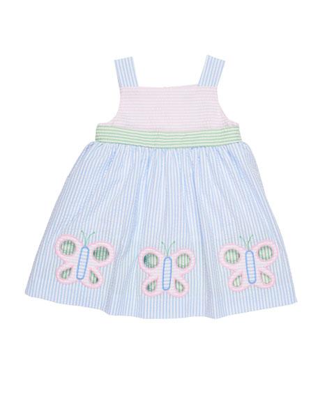 Florence Eiseman Multi-Stripe Seersucker Butterfly Dress, Size