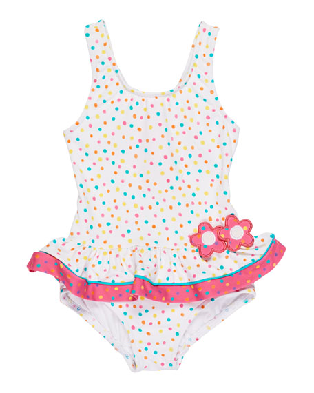 Florence Eiseman Confetti Dot One-Piece Ruffle Swimsuit, Size