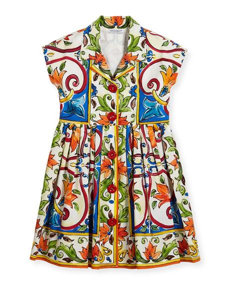 Maiolica-Print Poplin Dress, Size 2-6