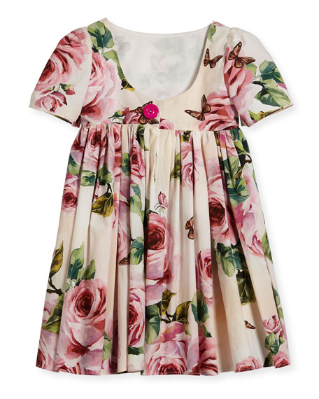 Short-Sleeve Cotton Rose Dress, Size 8-12