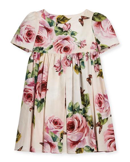 Dolce & Gabbana Short-Sleeve Cotton Rose Dress, Size