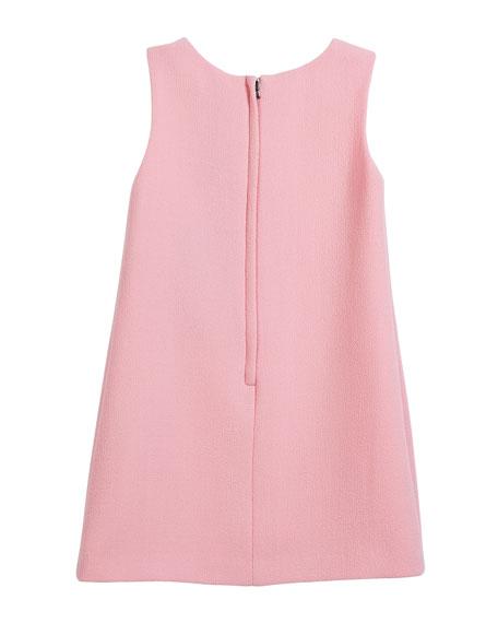 Sleeveless Crepe Dress w/ Sequin Logo, Size 8-12
