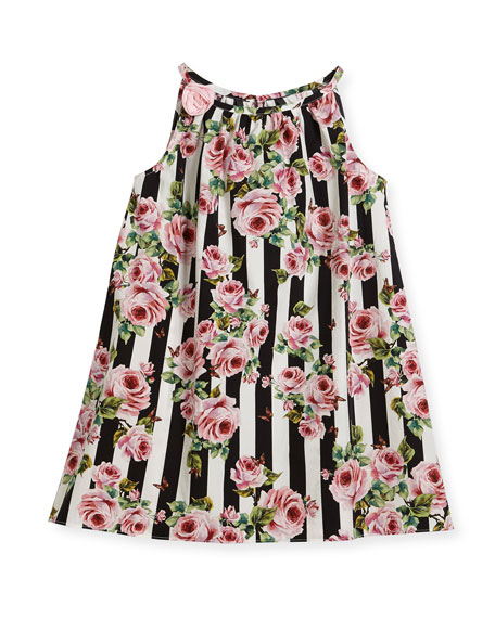 Dolce & Gabbana Poplin Stripe Floral Dress, Size