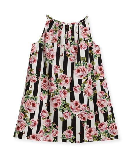 Poplin Stripe Floral Dress, Size 8-12