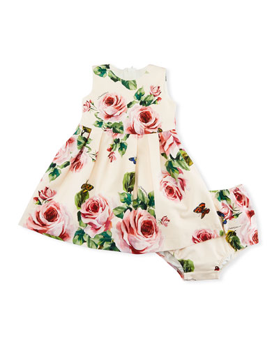 Rose-Print Sleeveless Jersey Dress, Size 12-30 Months
