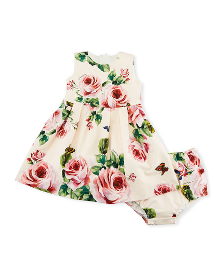 Rose-Print Sleeveless Jersey Dress, Size 12-30 Months