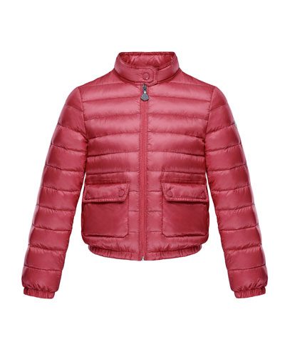 Lans Flap-Pocket Lightweight Down Puffer Jacket, Dark Pink, Size 4-6