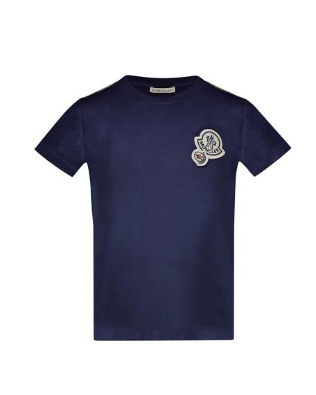 Maglia Short-Sleeve T-Shirt w/ Logos, Navy, Size 4-6