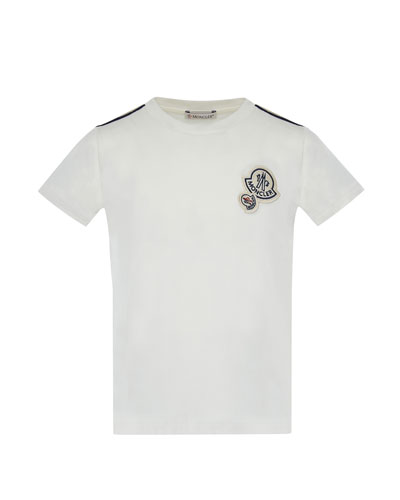 Maglia Short-Sleeve T-Shirt w/ Logos, Off White, Size 4-6