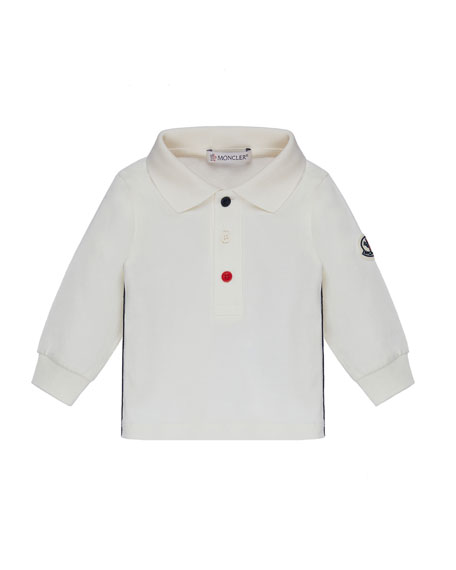 Moncler Long-Sleeve Polo w/ Side Trim, Size 12M-3Y
