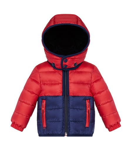 Moncler Joachin Two-Tone Lightweight Down Hooded Jacket, Size