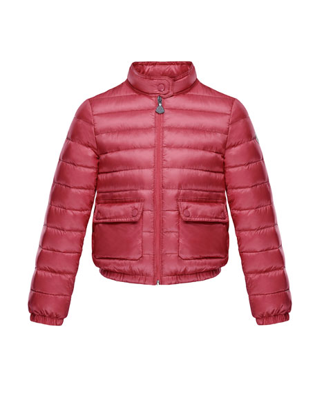 Lans Flap-Pocket Lightweight Down Puffer Jacket, Dark Pink, Size 8-14