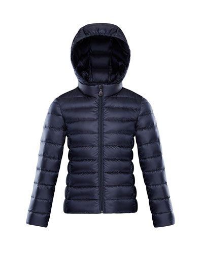 Iraida Hooded Lightweight Down Puffer Jacket, Navy, Size 4-6