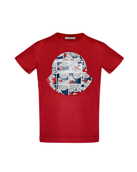 Moncler Maglia Comic-Print T-Shirt, Red, Size 4-6