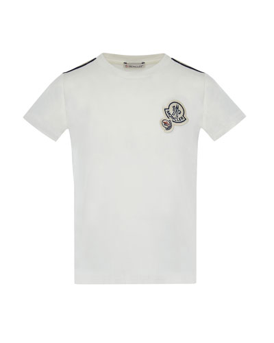 Maglia Short-Sleeve T-Shirt w/ Logos, Off White, Size 8-14