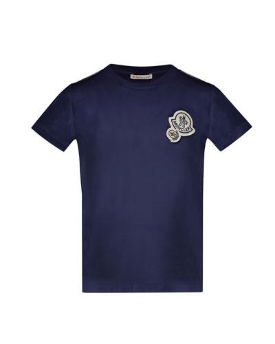 Maglia Short-Sleeve T-Shirt w/ Logos, Navy, Size 8-14