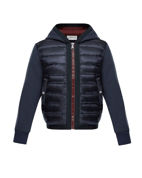 Moncler Down Quilted Hooded Jacket w/ Knit Sleeves,