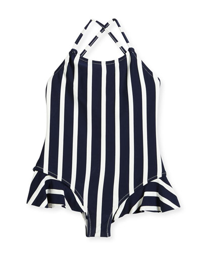 Striped One-Piece Swimsuit w/ Ruffle Trim, Size 4-7