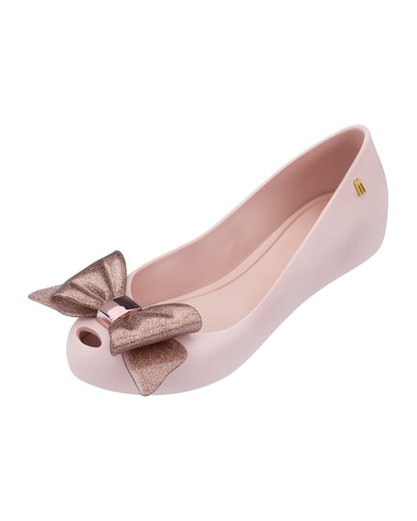 Mini Melissa Ultragirl Glittered-Bow Ballet Flat, Toddler/Youth