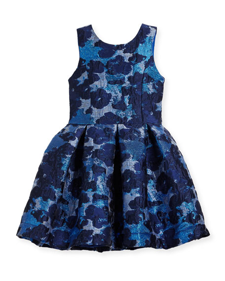 Zoe Adele Metallic Brocade Floral Dress, Size 4-6X