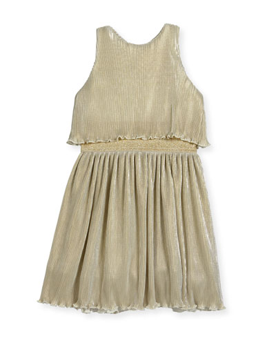 Gia Metallic Pleated Popover Dress, Size 7-16