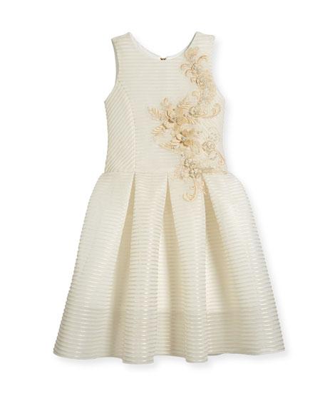 Parker Perforated Neoprene Stripe Dress, Gold, Size 7-16