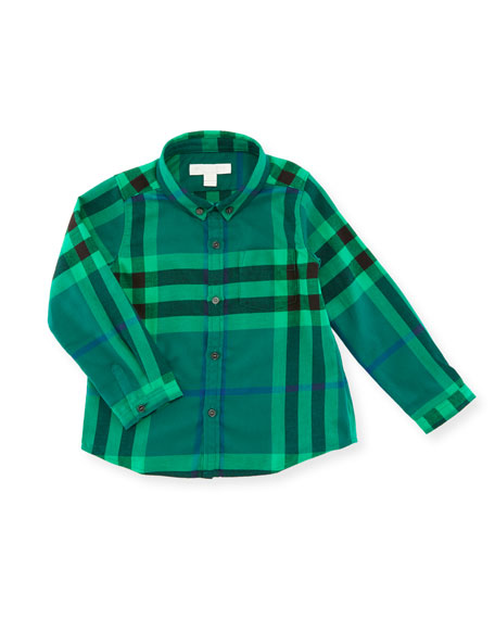 Burberry Fred Mini Long-Sleeve Check Shirt, Green, Size