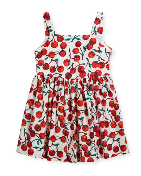 Milly Minis Emaline Cherry-Print Dress, Size 4-7