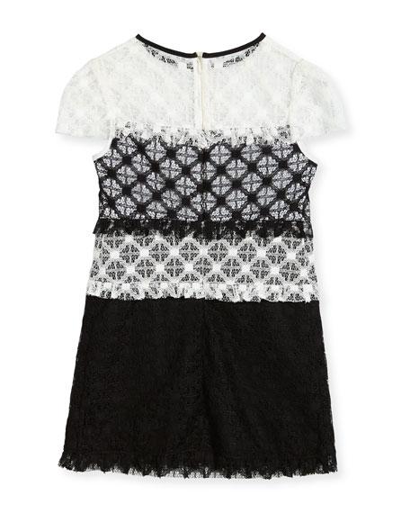Gabrielle Short-Sleeve Colorblock Lace Dress, Size 4-7
