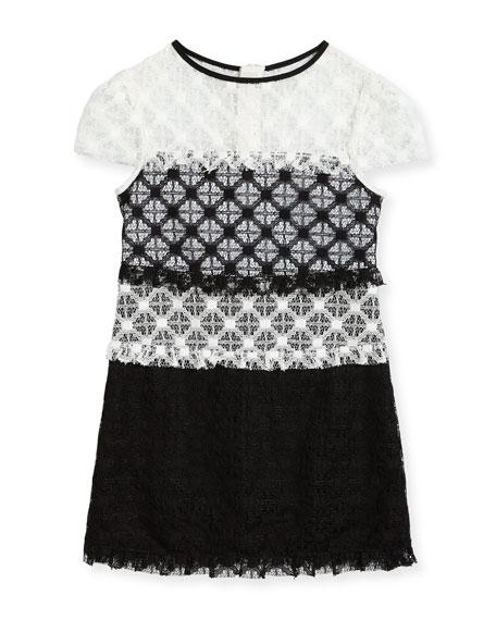 Gabrielle Short-Sleeve Colorblock Lace Dress, Size 8-16
