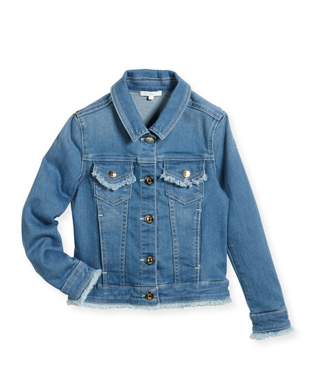 Chloe Denim Jacket w/ Frayed Trim, Size 4-5