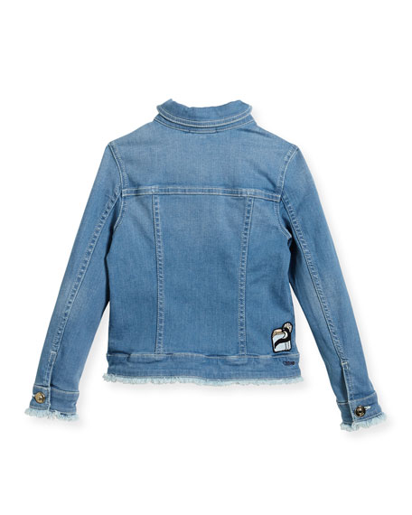 Denim Jacket w/ Frayed Trim, Size 6-10