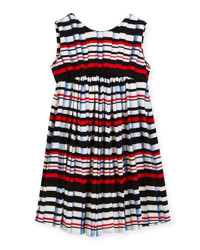 Stripe Pleat-Print Knit Dress, Size 4-6