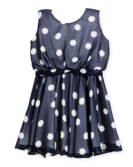 Sleeveless Polka-Dot Dress, Size 7-14