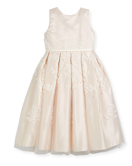 Joan Calabrese Satin Dress w/ Floral Embroidered Overlay,