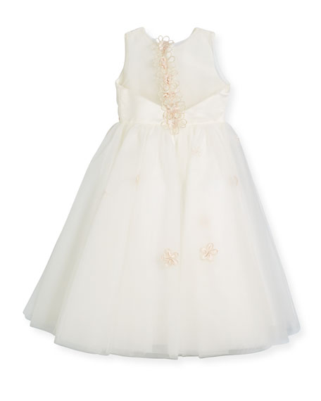 Satin & Tulle Flower Dress, Ivory, Size 4-14