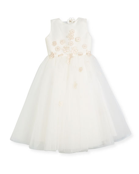 Joan Calabrese Satin & Tulle Flower Dress, Ivory,