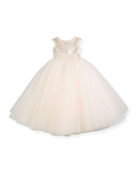 Joan Calabrese Cap-Sleeve Dress w/ Full Tulle Skirt,