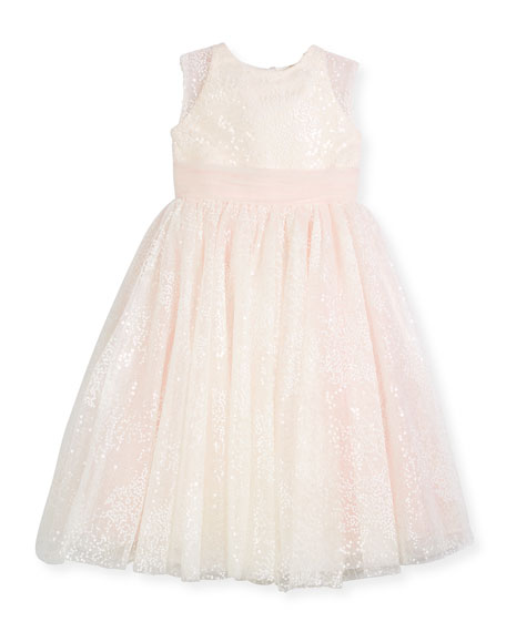 Joan Calabrese Sequin Tulle Special Occasion Dress, Ivory,