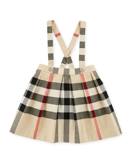 Burberry Sofia Check Skirt Overalls, Beige, Size 6M-3Y