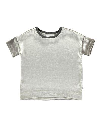 Rheta Metallic Blouse, Silver, Size 3T-14