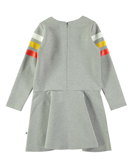 Chantelle Melange Dress w/ Striped Long Sleeves, Size 3T-14