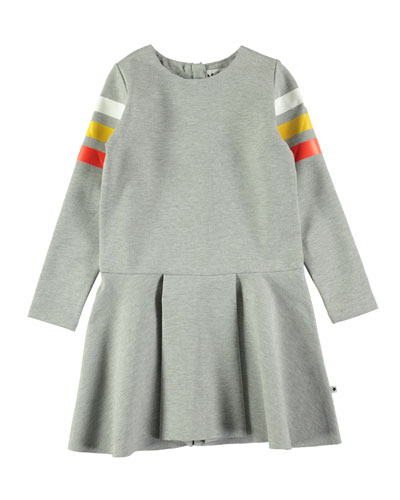 Chantelle Melange Dress w/ Striped Long Sleeves, Size 3T-14