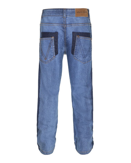 Alon Two-Tone Denim Jeans, Size 4-10