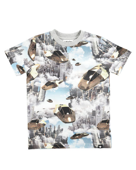 Molo Ralphie Hover Cars Printed Short-Sleeve T-Shirt, Size