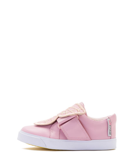 Bibi Embroidered-Butterfly Low-Top Sneaker, Pink, Toddler/Youth Sizes 5T-3Y