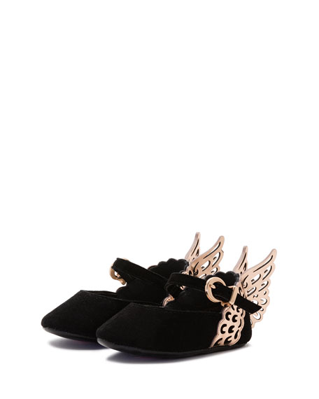 Evangeline Suede Butterfly-Wing Flat, Black, Infant Sizes 0-12 Months