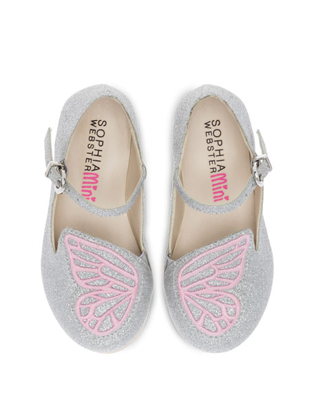 Bibi Butterfly Glittered Flat, Toddler/Youth Sizes 5T-3Y