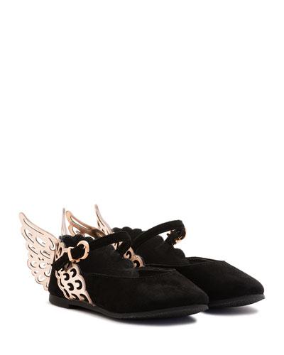 Evangeline Suede Butterfly-Wing Flat, Black, Size 5T-3Y