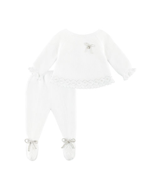 Pili Carrera Knit Bow-Detail Sweater w/ Footed Leggings,